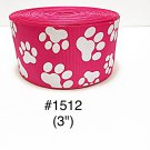 "5 yard - 3"" Glitter Dog Paw Jumbo Hot Pink Grosgrain Ribbon Hair Bow Cheer Bow"