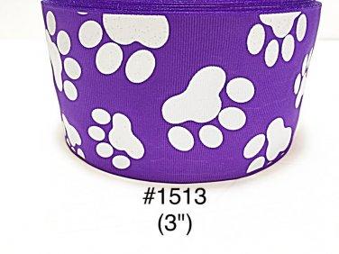 "5 yard - 3"" Glitter Dog Paw Jumbo Purple Grosgrain Ribbon"