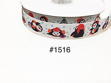 "5 yard -  7/8"" Christmas Penguin wearing Santa Hat with Snowflake motif on White Grosgrain Ribbon"