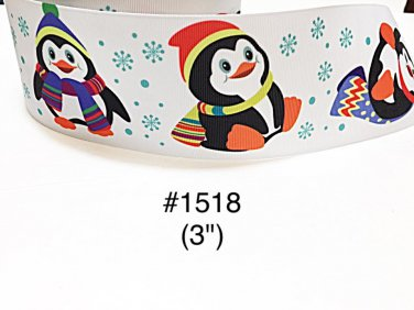 "5 yard - 3"" Christmas Penguin wearing Santa Hat with Snowflake Jumbo White Grosgrain Ribbon"