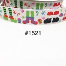"5 yard - 1"" Christmas Santa & Elf Foot, Presents and Snowflake White Grosgrain Ribbon"