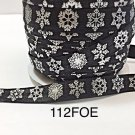 "5 yard - 5/8""  Christmas Silver Snowflake on Black Fold Over Elastic"