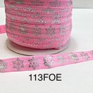 "5 yard - 5/8"" Christmas Silver Snowflake on Pink Fold Over Elastic"