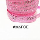 "5 yard - 5/8"" Valentine Silver Heart XOXO Pink Fold Over Elastic Headband Hair Accessories"