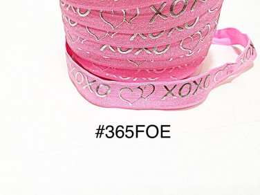 "5 yard - 5/8"" Valentine Silver Heart XOXO Pink Fold Over Elastic Headband Hair Accessories"