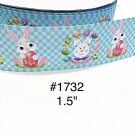 "5 yd - 1.5"" Happy Easter Bunny Holding Red Egg on Blue Checker Motif Grosgrain Ribbon"