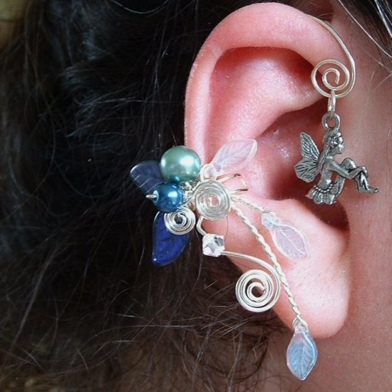 Fairy Bower Moonlight Blue Ear Cuff Vine Wrap