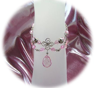 Pink Glitter Zircon Front Drop Anklet