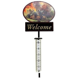 "Thomas Kinkade ""Mountain Retreat"" Rain Gauge Stake Painter Of Light NEW"
