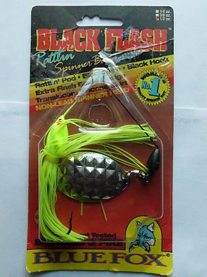 Vintage Blue Fox Black Flash SpinnerBait New Old Lure 1/2oz Gren/Chrt Bait NIP