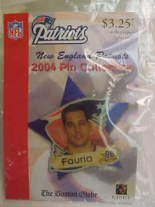 Christian Fauria #88 New England Patriots Foot-Ball 2004 NFL Pin Lapel NEW LwShp