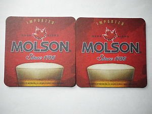 6 MOLSON Beer Biere Ale Pilsner Bar Can Bottle Pub Coasters Mats New