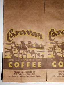 Old Caravan Coffee Bag Sack Camels Advertising New Old Stock Very Cool LOOK!