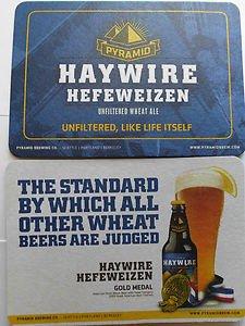 4 HayWire Beer Bar Coasters Mats Pyramid Brewery Co. Coaster Nice Look LowShip