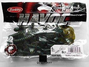 "Berkley Havoc Hawk Hawg Creature Baits Lures 5"" Green Pumpkin Blue NEW"