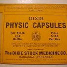 Vintage DIXIE Physic Capsules Medicine Box 4 Bottle UnUsed LOOK 1900's NOS LwShp