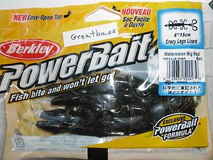 "Berkley Power-Bait 6"" Crazy Legs LIZARDs Lures Bait WaterMelon Red Bass Lure NIP"