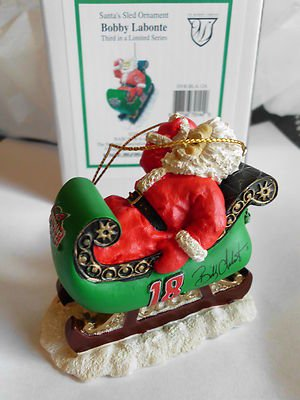 Bobby Labonte NASCAR #18 Racing Team Santa Sled Christmas Ornament NIB LoWShip*
