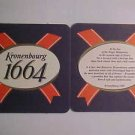 2 Kronenbourg 1664 Beer Ale Pilsner Coasters Mats Bar Pub LOOK