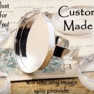 Custom Round Glass-Domed Silvertone Ring- ADJUSTABLE