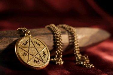 Supernatural Devil's Trap Pendant Necklace Antique Gold - Sam & Dean Winchester