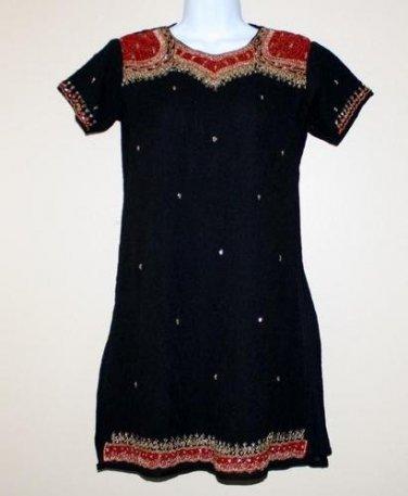 Vintage Black Beaded Tunic Dress  32/M Holidays