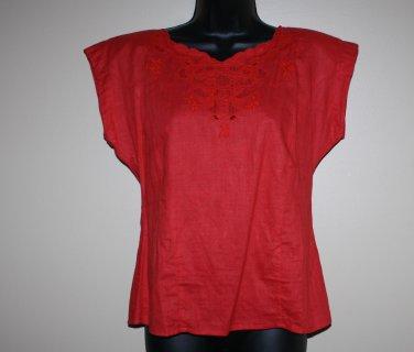 Vintage Red Blouse Top 6 Worthington  Cotton Blend