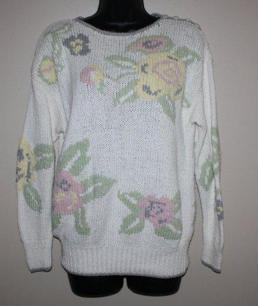 Vintage Liz Claiborne Sweater Floral  S Hand Knitted Silk Blend
