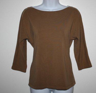 Tan Jones New York  Boatneck 3/4 Sleeve Top M  Brown