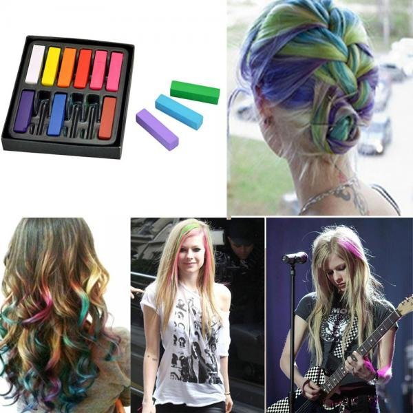 Appear as Artist with Size 12 Colors Non-toxic Temporary Hair Chalk Dye Soft Pastels
