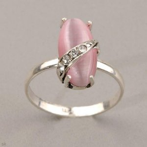 Pink Cat's Eye Ring