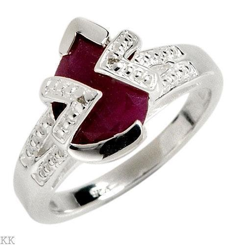 Pear Cut Ruby and Diamond Solid Sterling Silver Ring. Size 7 US   Eu 14.51
