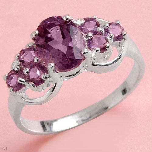 Genuine Amethyst Solid Sterling Silver Ring  Size 7