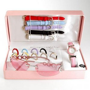 Fashionable ADRINA Ladies Watch with Interchangable Bezel, Bands along with Sunglasses