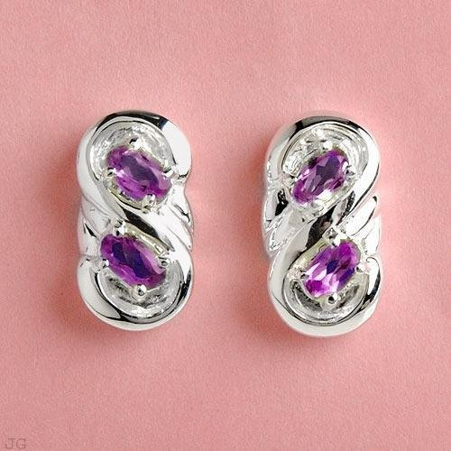 1.00ctw Genuine Amethyst Earings with Solid Sterling Silver Mounts