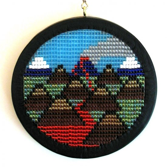 Volcanic Landscape, Daybook # 070702 - Leather Framed Beadwork (Bead Work) Wall Hanging