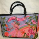Merona Bamboo Handle Handbag  Emblished Beaded Sequine Bag Tote Purse PINK