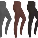 NEW CATHY ROSE Pluch Fleece Lined FOOTLESS Stretch Yoga LEGGINGS Pants SPANDEX