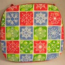 CHRISTMAS House Xmas Holiday SET OF 4 Contempary Tie-on CHAIR Seat Pads CUSHIONS