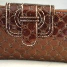 Swinton Quilted 3 Pocket Clutch Wallet Wristlet Hand Bag Purse Organizer RUST