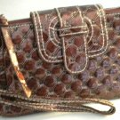 Swinton Quilted 3 Pocket Sling Wallet Wristlet Hand Bag Purse Organizer BROWN