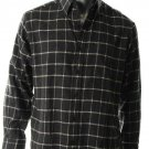 John Ashford Men Button-Down Front Long Sleeve Flannel Shirt Charcoal Plaid L