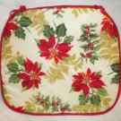 CHRISTMAS Xmas Holiday POINSETTIA SET OF 4 NEW Tie-on CHAIR Seat CUSHIONS