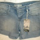 LEI Women Ashley Lowrise Felicia BLUE Denium Raw Cut Cuff JEAN Stretch SHORTS 3