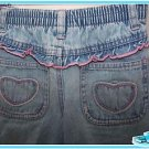 WHO DO YOU LOVE Toddler Girls Faded Ruffle Blue Denim Jeans Pants 3T PINK Stitch