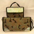 Sassy & Chic GREEN Camoflage COSMETIC Make-up Toiletry Travel Case w/ Sequins
