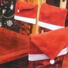 Christmas House Holiday Season Santa Hat Chair Back Slip Cover Red White Felt