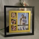 "Contemporary Glass Floating Multi-Photo Picture Frame BLACK w/ GOLD Mat 4"" x 6"""