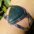 silver Bloodstone gemstone Cuff juniors ladies bracelet green