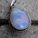 silver rainbow moonstone blue gemstone pendant necklace bohoemian boho gypsy  ladies juniors